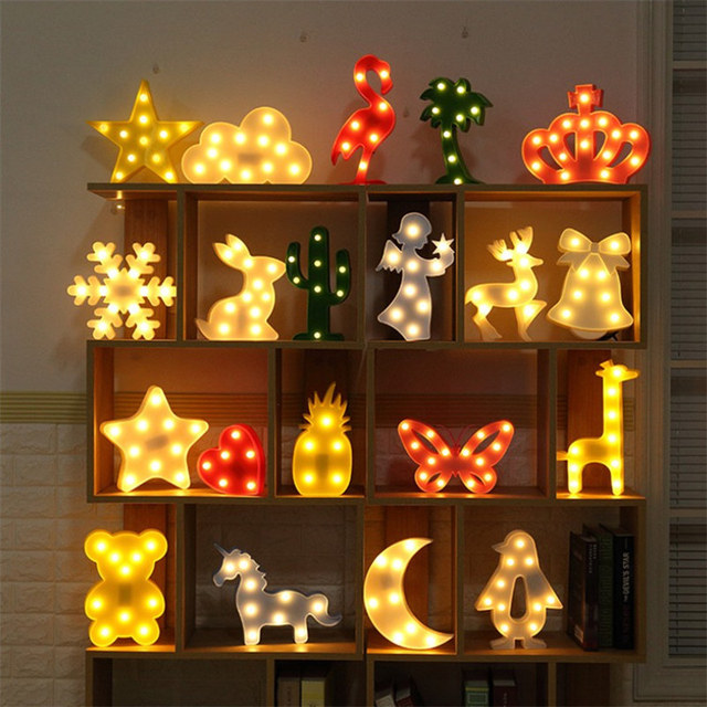 Elk Cactus Nuage Nuit Lumière 3D Luminaria Licorne Étoiles Led lampe Veilleuse Chapiteau Lettre Cadeau Jouets Chambre Décor Pour Enfants bébé