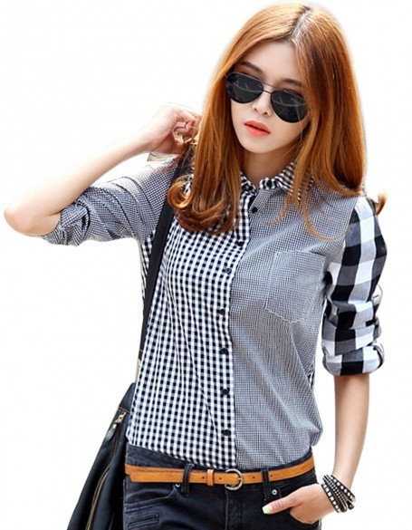 2017 New Fashion Button Down Shirt For Women Casual Lapel Shirt Long Sleeve Plaids Checks Shirt Top Blouse