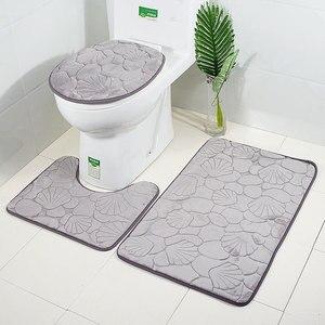 Image 4 - Zeegle 3pcs Bathroom Mat Set Toilet U Type Mat Shower Mats Absorbent Foot Rug Non slip Floor Mat Pedestal Rug Lid Toilet Cover