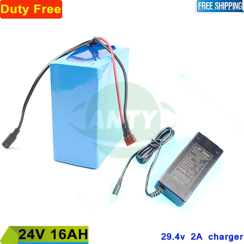 Electric Bicycle Battery 24v 16Ah 350W Lithium ion Battery Pack 24v for eBike 24v with 15A BMS + 2A Charger Duty/Shipping Free free customs taxes super power 1000w 48v li ion battery pack with 30a bms 48v 15ah lithium battery pack for panasonic cell