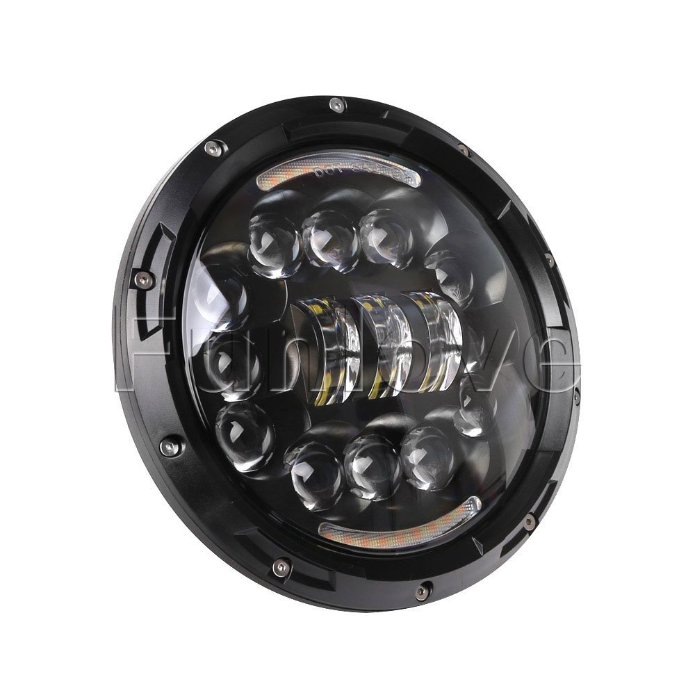 WHDZ 7 Inch Motorcycle LED Headlight Angle Eyes with Hi/Lo Beam DRL for Harley-Davidson Daymaker Jeep Wrangler 1pc round 75w 7 inch led headlight motorcycle for harley with drl hi lo beam 7 head lamp for led jeep wrangler headlights