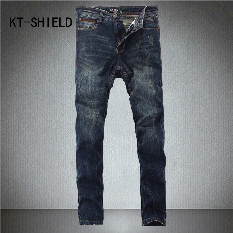 Biker Jeans for men brand Fashion full length Slim fit straight denim trousers Casual hip hop Distressed Ripped vaqueros hombre mens casual elastic ripped drape denim hip hop slim fit distressed biker jeans pants black straight pencil trousers multi zipper