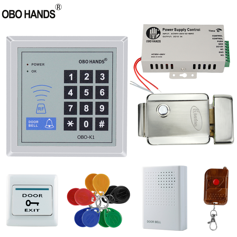 Free Shipping Full Set With Electric Bolt Lock+keypad+power Supply+exit Switch+keys Door Access Control System Kit Products Hot Sale Access Control Kits