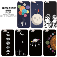 Moon Astronauts Outer Space Soft Tpu Phone Case For Apple iphone 5 5s 6 6s 6plus 4 4s 7 7plus 8 8plus X Samsung s3 s4 s5 s6 s7(China)