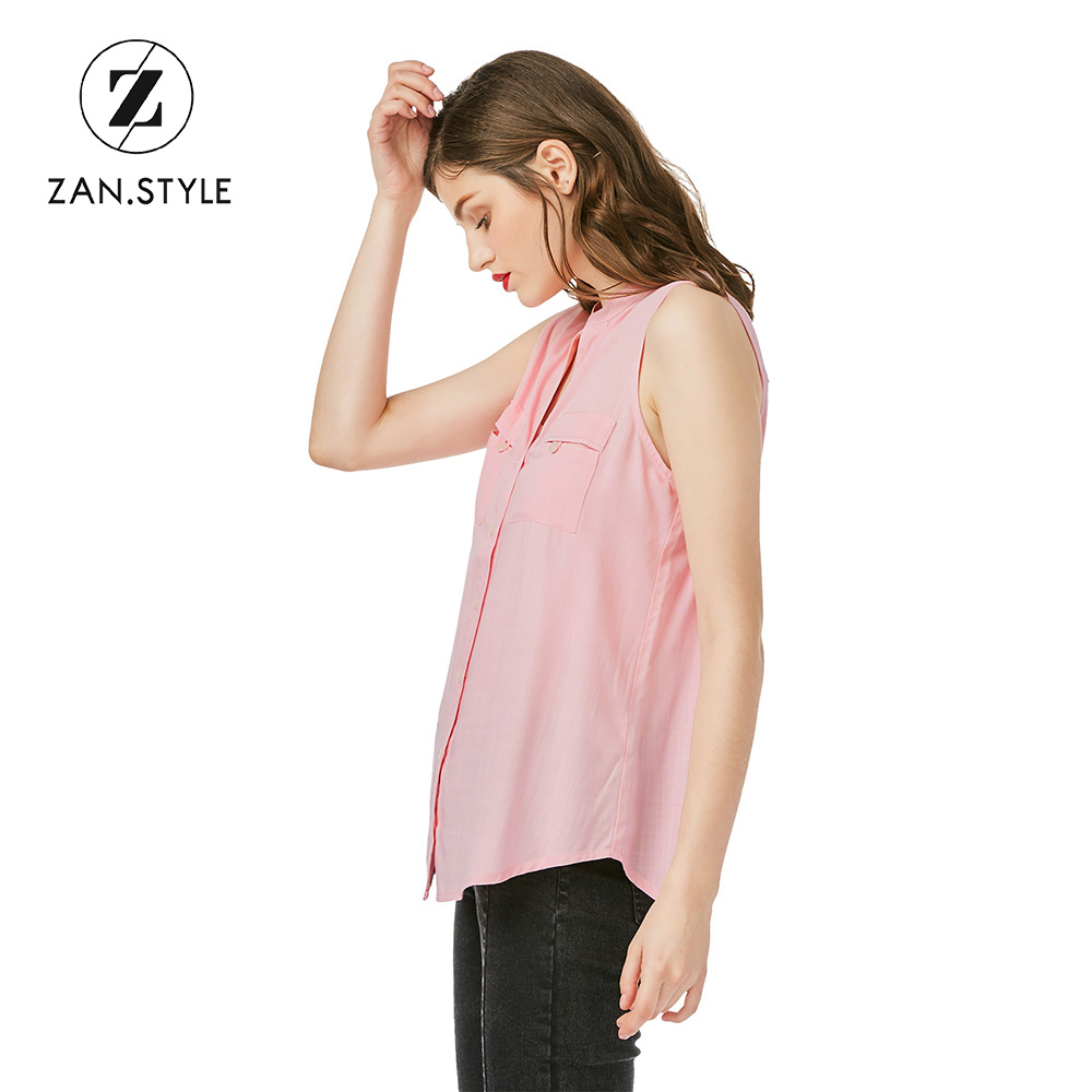 e1acfa7449fda2 ZAN.STYLE Summer New Women V Neck Button Shirt Office Ladies Sleeveless  Chest Pocket Women Blouses Solid Color Workwear Shirts-in Blouses   Shirts  from ...