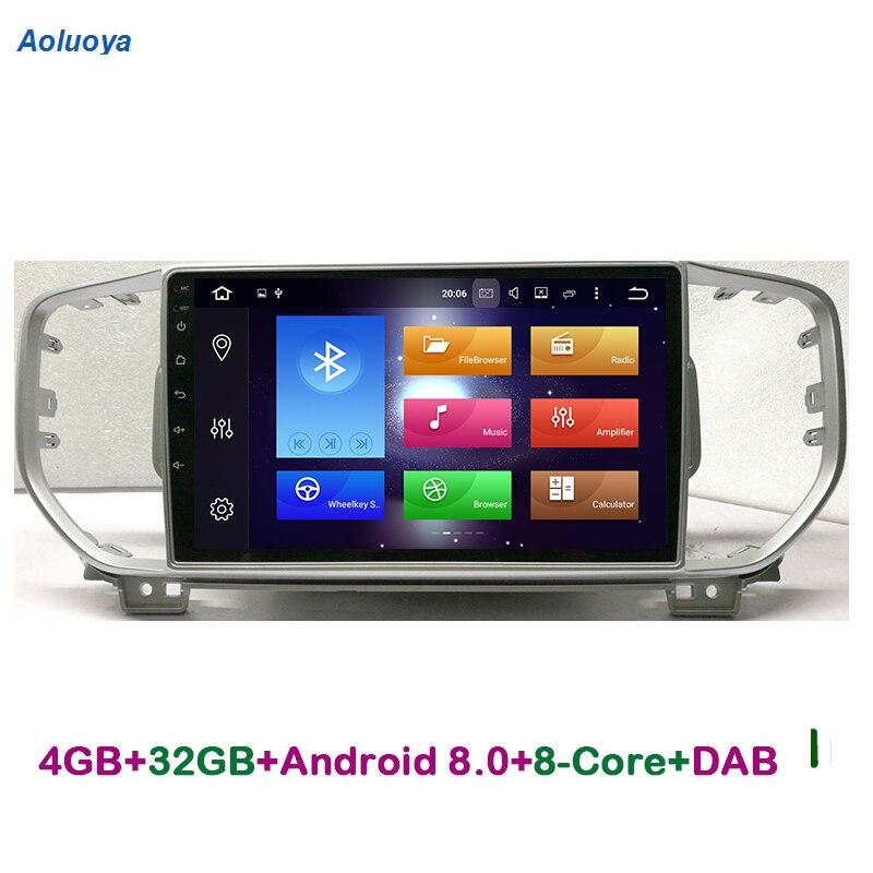Aoluoya 4GB RAM 32G ROM Octa Core Android 8.0 CAR DVD PLAYER For KIA Sportage KX5 2016 2017 Radio gps navigation multimedia DAB+