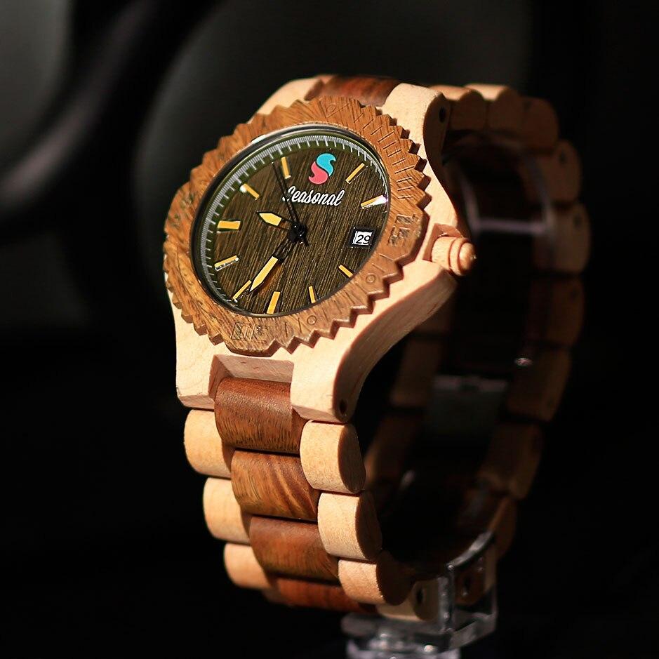 Montres en bois de luxe de saison pour hommes Vintage analogique Quartz fait à la main noyer zèbre bambou bande montre-bracelet horloge cadeaux Reloj