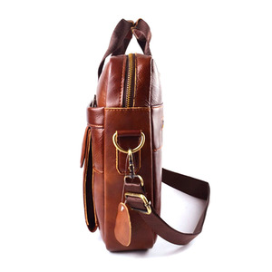 Image 3 - EUMOAN cuir véritable cuir véritable pochette dordinateur sacs à main peau de vache hommes sac à bandoulière hommes voyage marron mallette en cuir