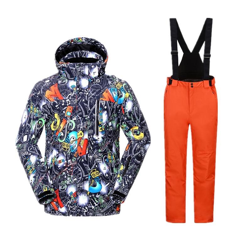 Ski Suit Men Thermal Winter Jacket Snow Pants Snowboard Suit Male Men's Sport Suit Hiking Set Snow Suit Snowboard Suit Male Warm