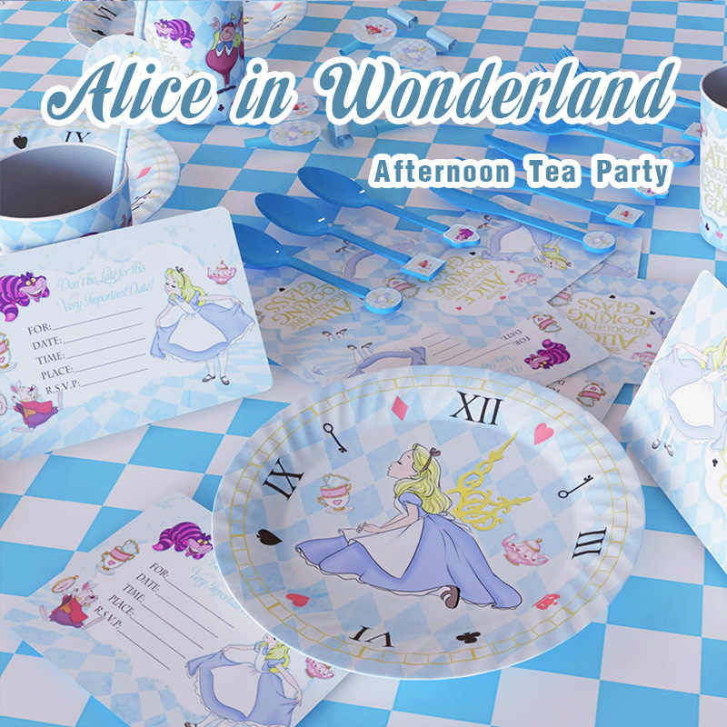 Alice In Wonderland Thema Verjaardagsfeestje Set Decoraties Paper Cup Kids Meisje Kinderen Dag Alice Feestartikelen Afternoon Tea