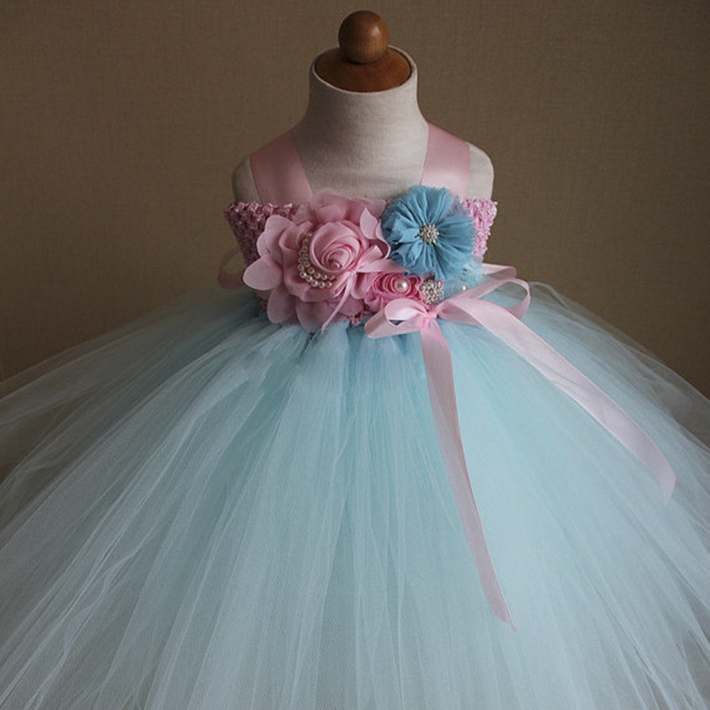 Princess Aqua Blue Flower Girls Dresses Pink Blue Kids Tutu Dresses