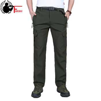 Spring Summer Mens Waterproof Trousers Work Trousers Breathable Zipper Pocket Cargo Straight Trousers Quick Dry Pants Male 40 42 - DISCOUNT ITEM  41% OFF Men\'s Clothing