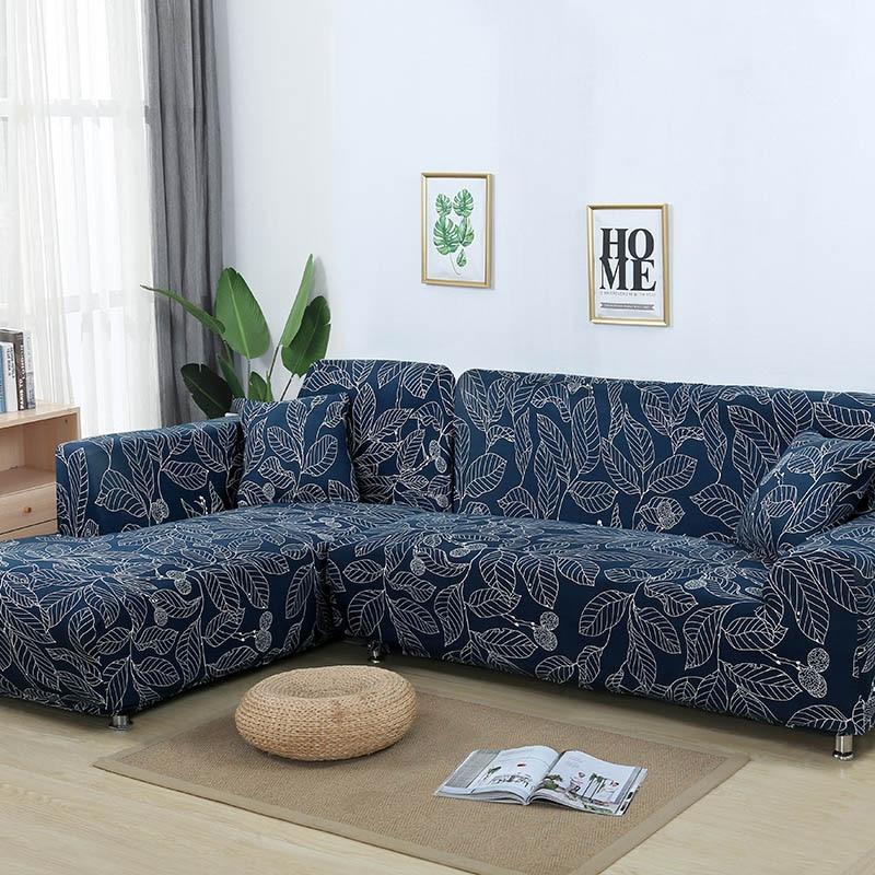 L shaped Sofa Cover Elastic Blue Sofa covers for living room ...