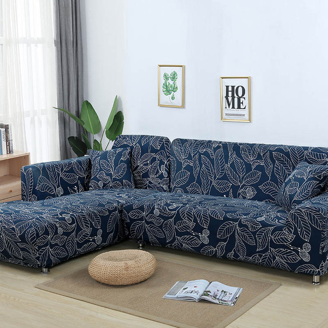 L Shaped Sofa Cover Elastic Blue Covers For Living Room Copridivano Couch Slipcovers