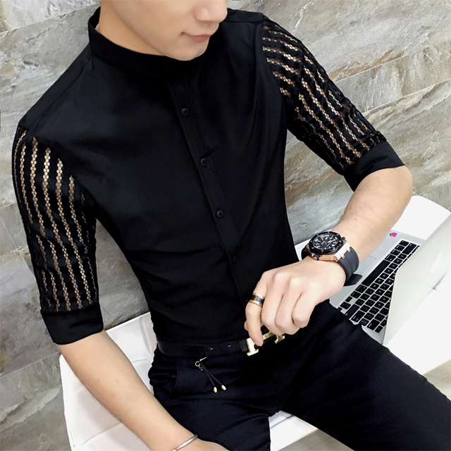 b27e92a3671 Men See Through Shirt Black White Prom Shirt Men Lace Shirt Fashion  Designer Shirt Slim Fit