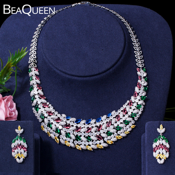 BeaQueen Gorgeous African Necklace Earrings Bridal Jewelry Sets Multicolor Cubic Zirconia Women Wedding Party Jewellery JS191
