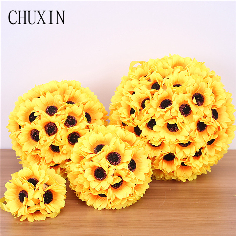 Simulation sunflower flower ball Home door wall decoration fake flower wedding scene layout Christmas party ceiling decoration