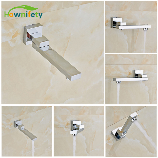 Chrome Polished Wall Mount Bathroom Tub Faucet Swivel Spout Mixer