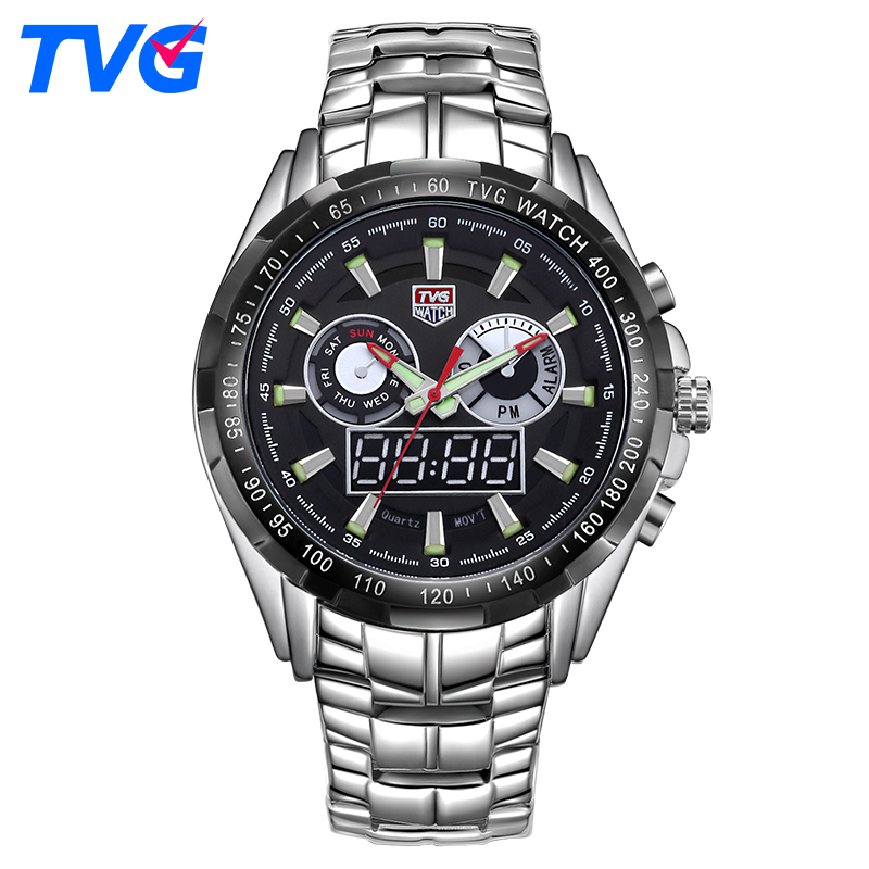 TVG Luxury Sport Watch Men Watch LED Digital Analog Watch Quartz Men Army Military Waterproof WristWatch Clock Relogio Masculino