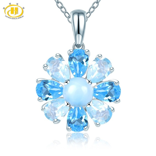 Hutang Natural Larimar Pendant Gemstone Sky Blue Topaz 925 Silver Necklace Fine Fashion Vintage Jewelry for Women Gift New 2019