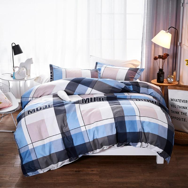 Ensembles de literie élégant motif à carreaux bleu complet King Queen Size 3/4 Pcs drap de lit housse de couette ensemble taie d'oreiller sans couette