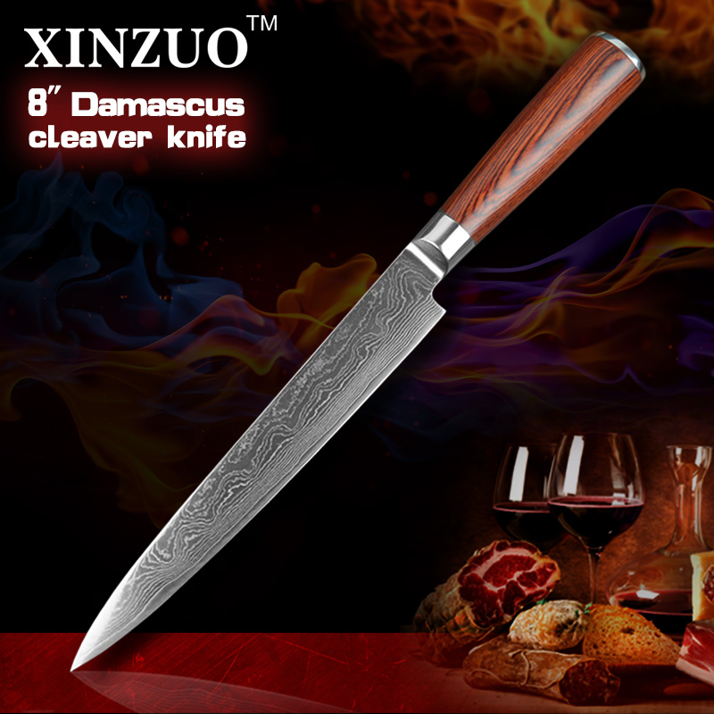 HOT SALE 2016 NEW 8 inches cleaver knives Japanese VG10 Damascus steel kitchen slicing Carving knife