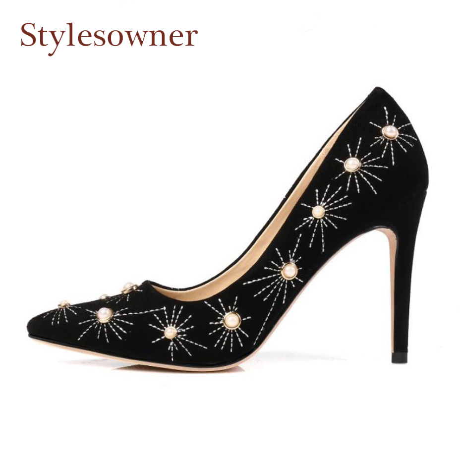 Фотография Stylesowner pearl decor shallow high heel shoes women party wedding pumps suede pointed toe stiletto heel ladies shoes black red