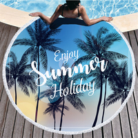 Large Round Microfiber Beach Towel for Adults Kids Blankets with Tassels Tropical Plants Printed Summer Bikini Cover Up Mats