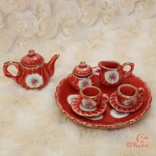 Mini Dollhouse Mini Furniture Model Porcelain Porcelain Rose British tea with super beauty