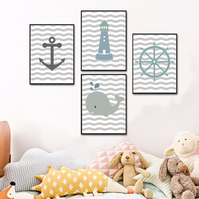 Nautical Nursery Set Canvas Art Print Painting Poster Wall Pictures For Kids Room Home Decorative Bedroom Decor No Frame
