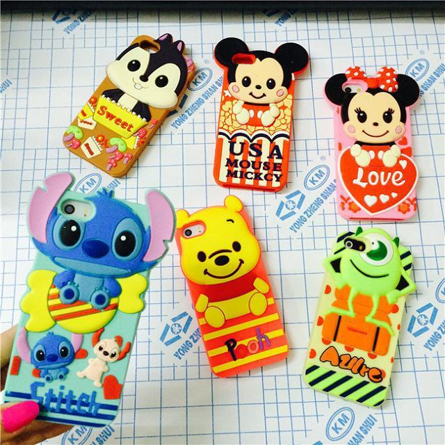 iphone 6 4.7'cute cartoon 3D Stitch Mike Pooh Minnie Mickey model silicon material Cover case 5 5G 5S - Orange Mobile store