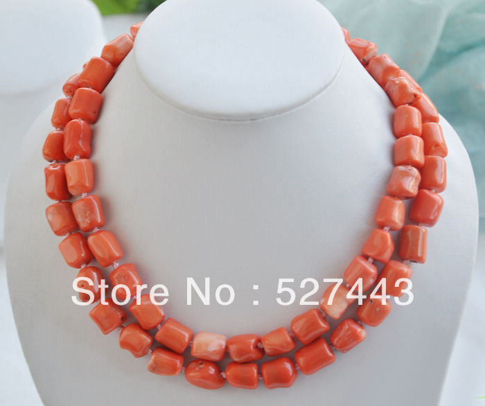 "Wholesale free shipping >>S1538 natural 33"" 13x15mm massive pink coral bead NECKLACE"