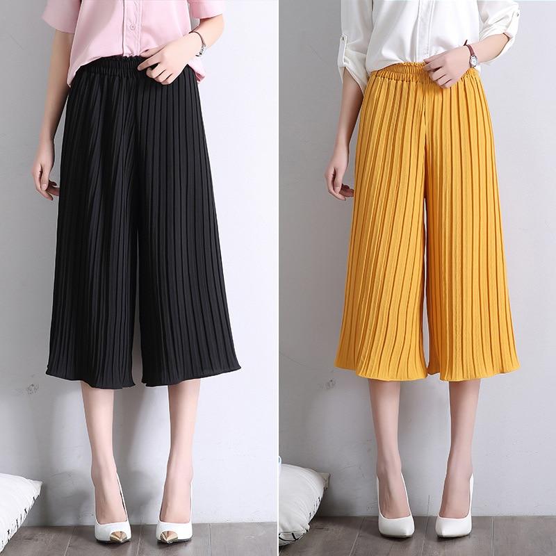 Special New 2017 Summer Ladies Leisure High Waist Harem Pants Women Wide Leg Fold Lace Chiffon Pants Pantalones Mujer