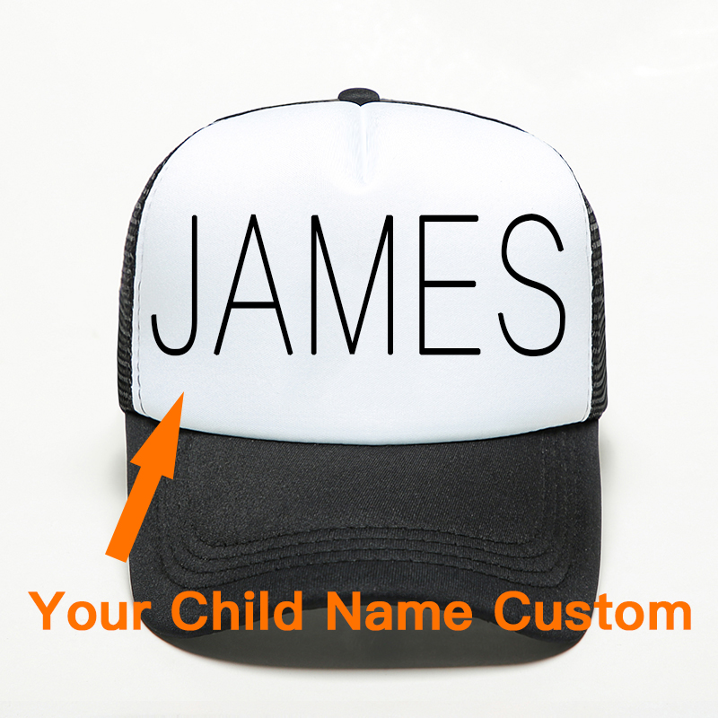 Kids Child Personality Name Custom Hats 100% Polyester Adjustable Mesh   Cap   Baby Son Daughter Exclusive Sports   Baseball   Hat