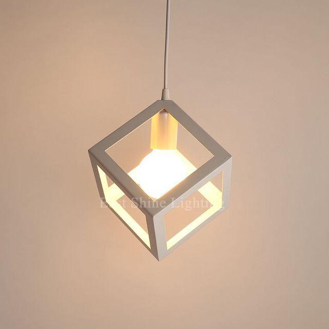 Modern Geometry Box Pendant Lights For Home Cute Pendant Lamps White ...