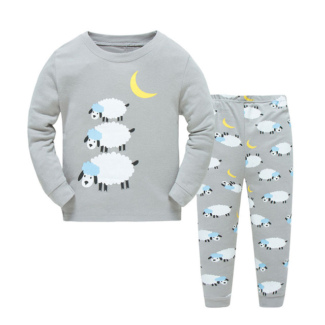 d197212a3e0d Dizoon Long Sleeve Pajamas for Boys Girls Cotton Cute Grey Pajama Sets  Underwear for Unisex Toddler Baby Sleepwear Suit 2T-7T