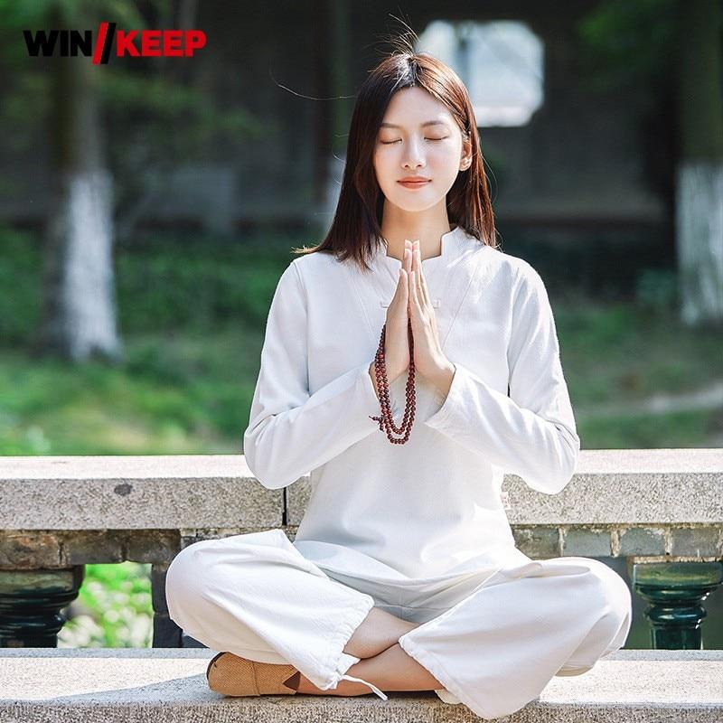 Women Yoga Clothes Sets Cotton Linen Meditation Clothing Kung Fu Uniforms Tai Chi Wing Chun Suit Shirt Pants 2pcs Set Tracksuit