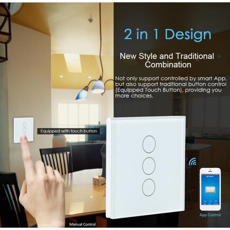 WiFi Smart Switch Work with APP Amazon Alexa Google Home Remote Control 1 2 3 Gang Wireless Light Wall Switch IFTTT EU Plug