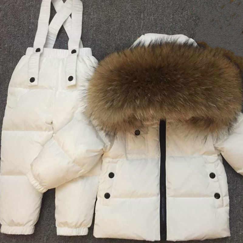 חורף ילדים חדשים למטה מעיל סט תינוק תינוק מכנסיים סט בני ובנות דביבון פרווה סקי חליפה עבה פרווה צווארון חם למטה מעיל