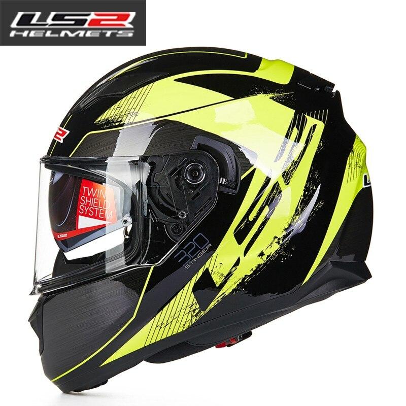 100% d'origine LS2 FF320 moto casque avec pare-soleil interne casque intégral double objectif racing casques approuvé DOT