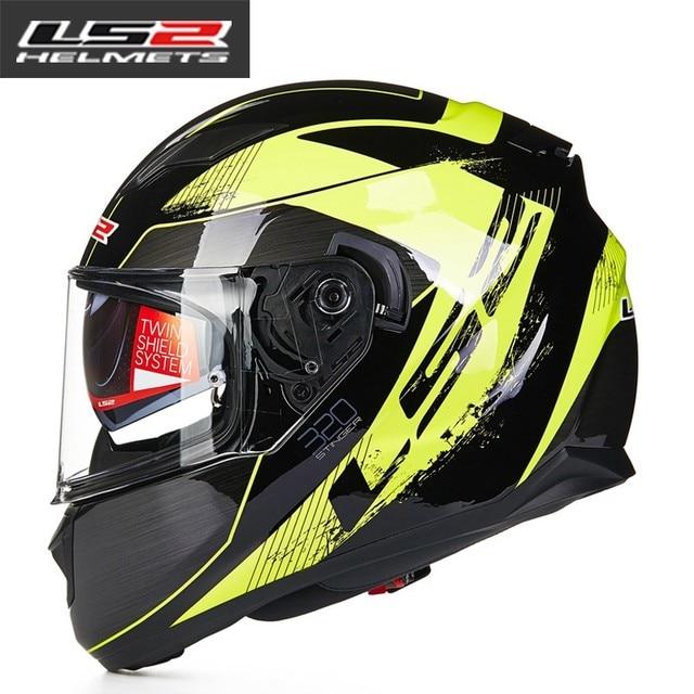 7d1a7fb00d946 100% original LS2 FF320 motocicleta casco con visera interior casco doble  lente Racing cascos dot