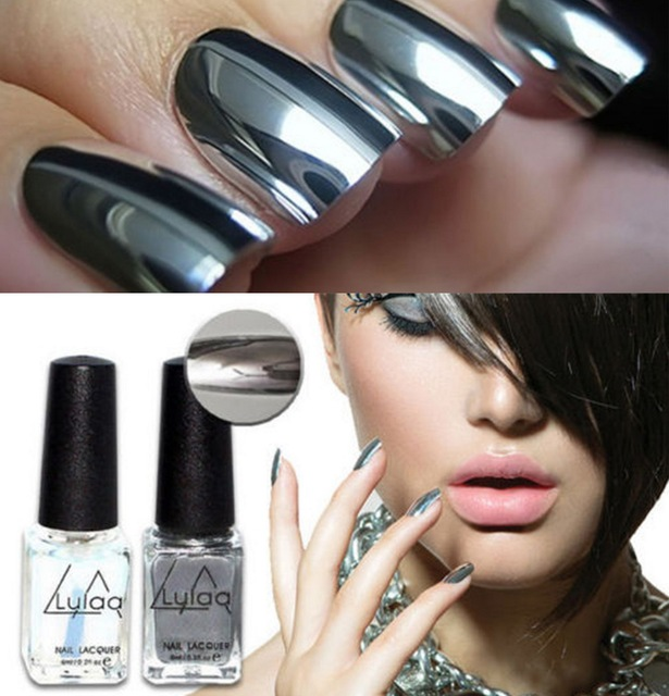 2019 fashion 2pc/lot 6ml Silver Mirror Effect Metal Nail Polish Varnish Top Coat Metallic Nails Art Tips nail polish set