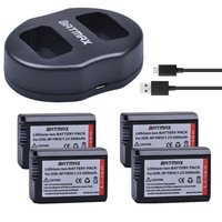 Batmax 4pc NP FW50 NP FW50 Rechargeable Battery USB Dual Charger For Sony NEX 5 NEX