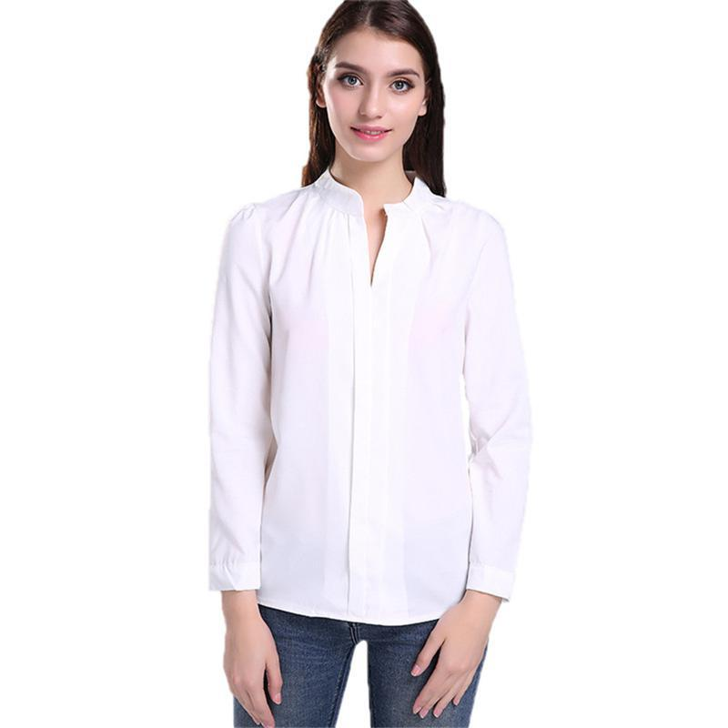 Autumn Casual Collarless Deep VNeck White Women Blouse Ladies ...