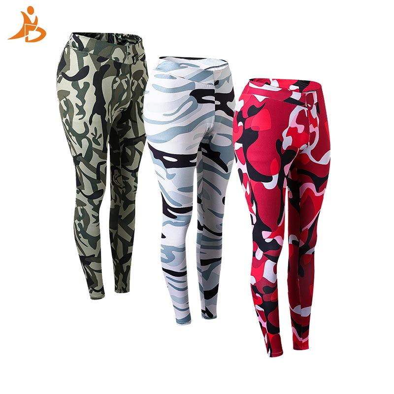YD High Elastic Fitness Women Yoga Pants Breathable Leisure Camouflage Sport Running Trousers Training Quick Dry  Tight Leggings