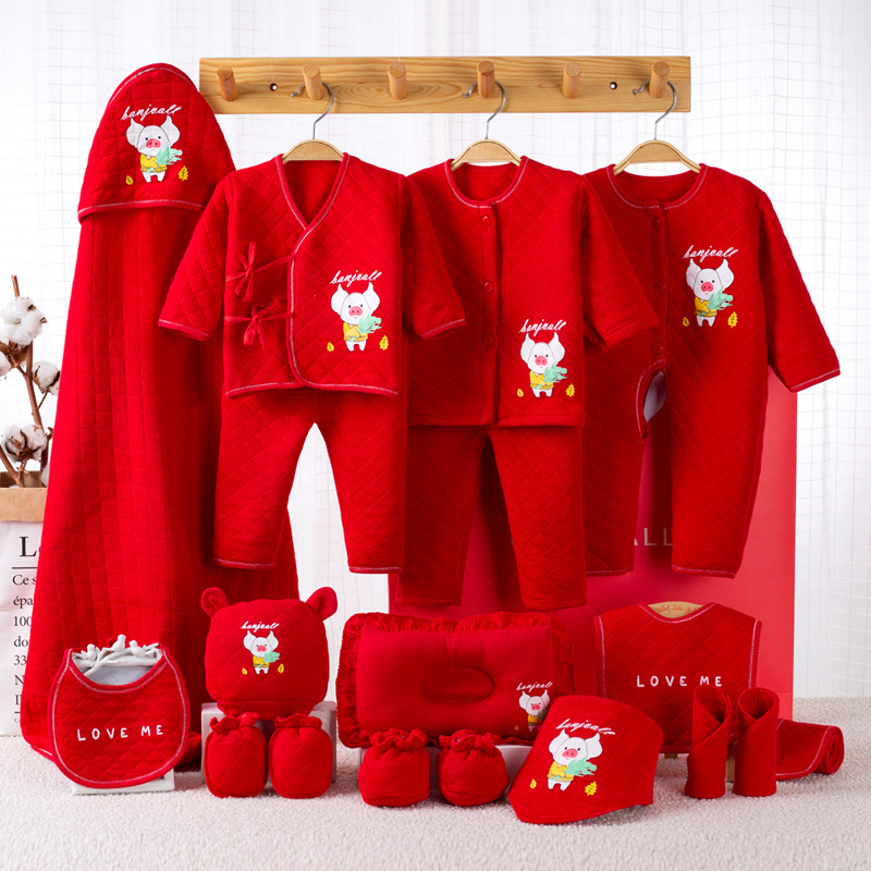 2019 New Thicken Cotton Newborns Set Gift Baby Clothing Infant Cartoon Winter Clothing Set Gift 18 Pieces Red Monkey