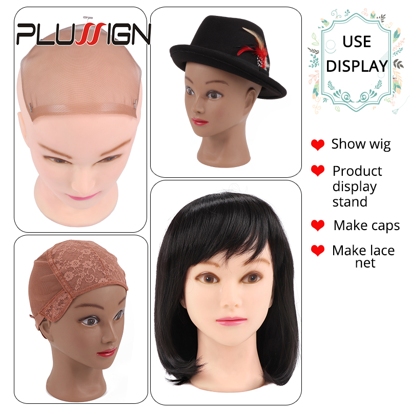 Image 5 - 2020 Newest Top Manikin Head With Display Stand Wig Foam Block Head Dark Brown Color For Black People Making Wigs 20.5InchWig Stands   -