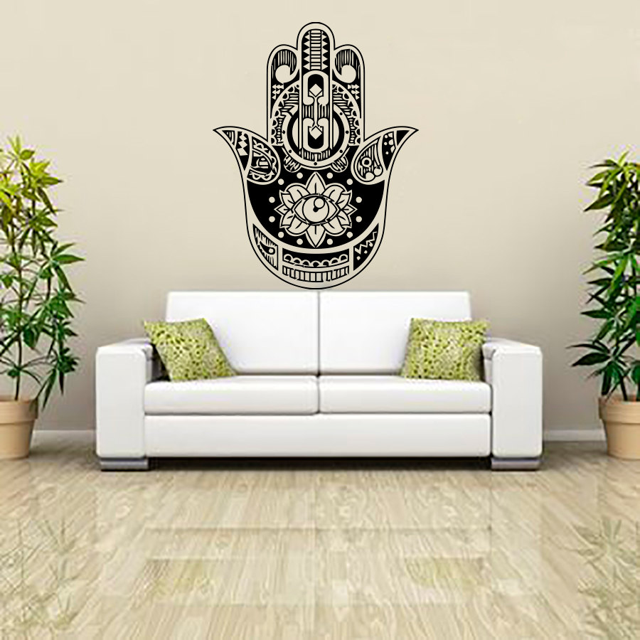 compare prices on buddha lotus online shoppingbuy low price  - dctop indian buddha lotus hamsa hand wall sticker home decor vinyl artmurals living room sofa