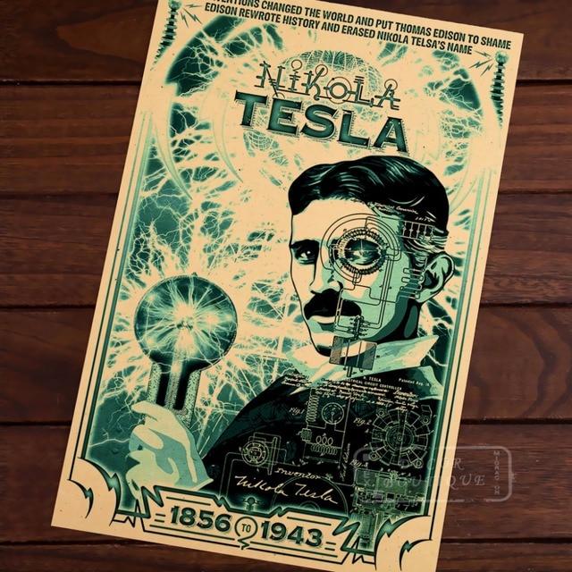 Great Scientist Physicist Tesla Poster Cool Science Magic Portrait ...