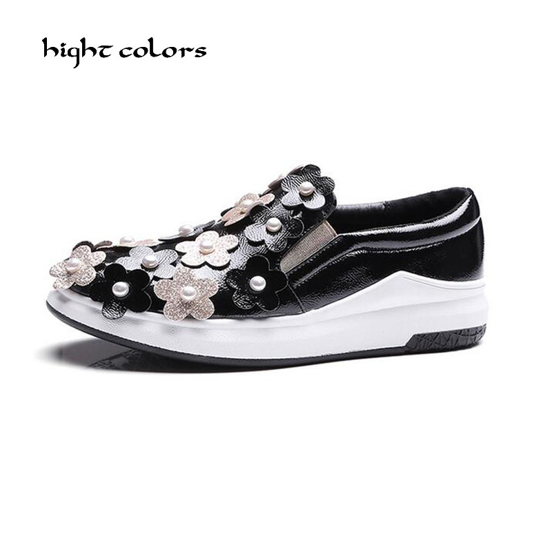 Spring/Autumn Women Flat Platform Loafers Shoes Ladies Patent Leather Flower Casual Shoes Slip On Flats Moccasins creepers HC19 lanshulan bling glitters slippers 2017 summer flip flops platform shoes woman creepers slip on flats casual wedges gold